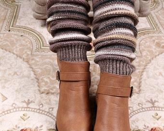 Dark Sandstone Striped Leg Warmers - Stretchy - Boot Warmers - Knee High