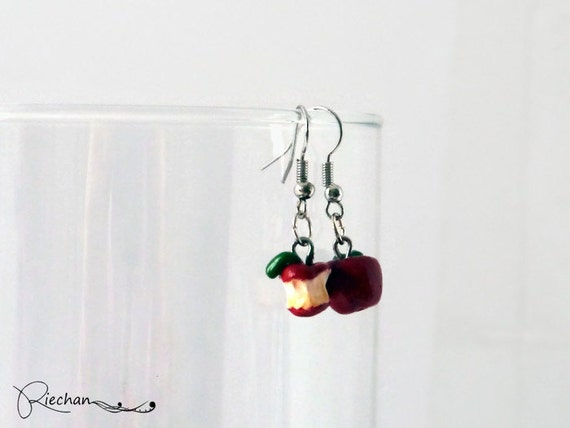 Apple Jewelry, Fruit Earrings, Red Apple Earrings, Food earrings, Polymer clay earrings, Food Jewellery, cute earrings, gift for her