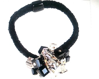New Square Multi Color SquareCluster  Crystal Ponytail Stetch Ponytail  Hair Tie