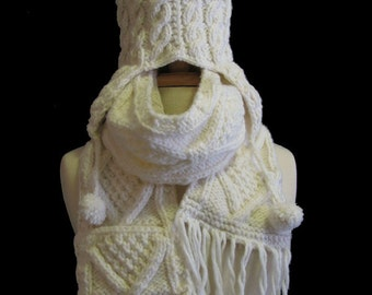 """The Beige """"Joelle"""" Winter Hat and Scarf Set"""