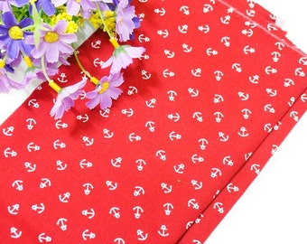 red and white anchor pattern of 100% Cotton Fabric by the yard