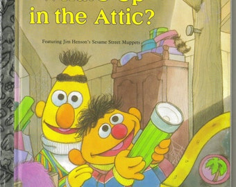 Sesame Street Little Golden Book What's Up in the Attic 1987