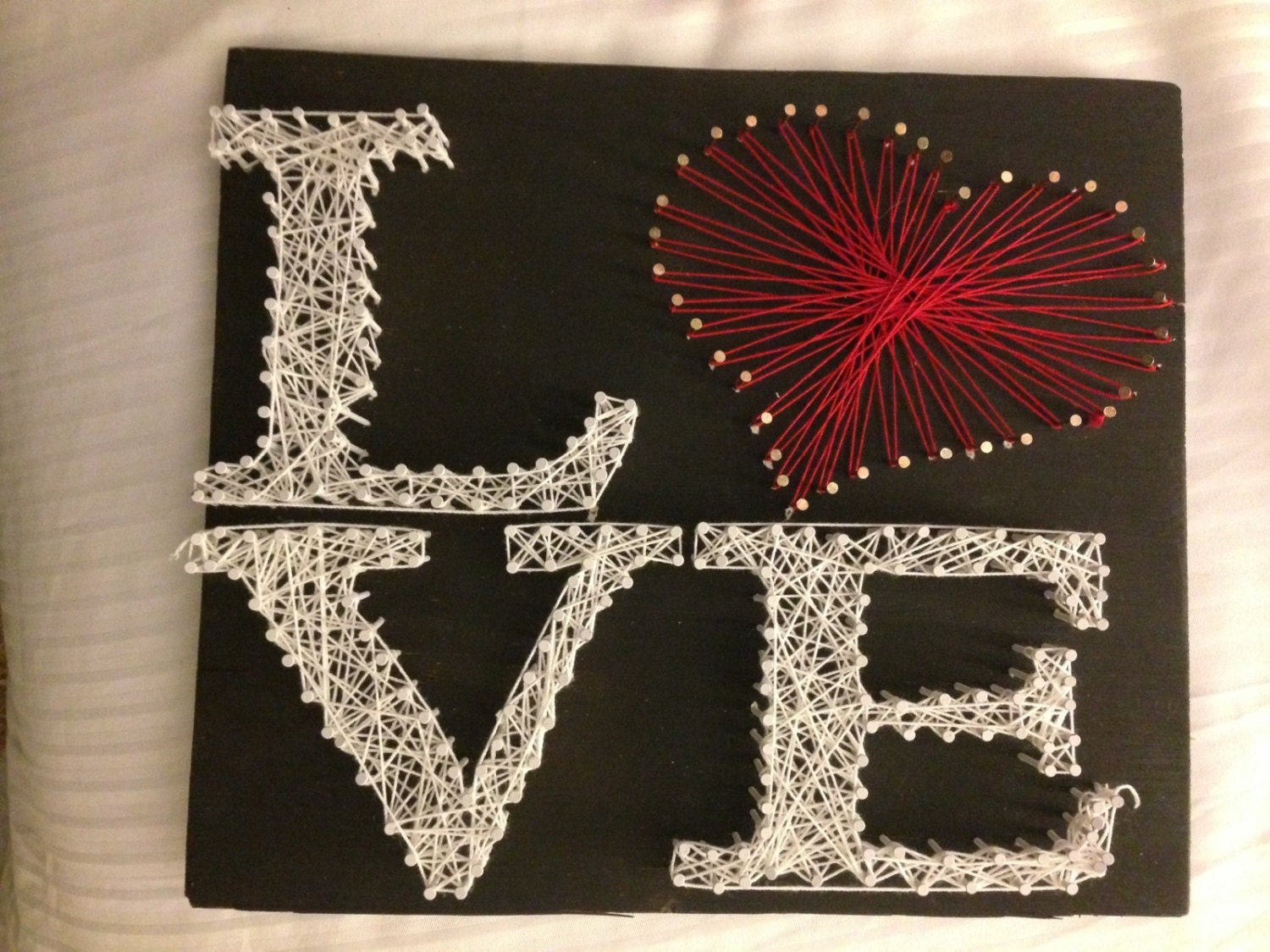 love with a red pattern heart string art. Black Bedroom Furniture Sets. Home Design Ideas