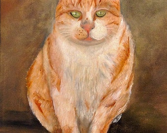 RED HAIRED CAT     Beautiful original art work of a cat, oil on canvas,colorful and unique Now******** Free Shipping************