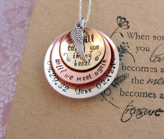 Items Similar To Memorial Necklace Sympathy Gift
