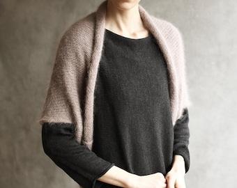 Short Sleeved Angora Wool Open Sweater, Fluffy Shrug, Bolero, Cardigan, Shawl, Dusky Pink, Mohair, Taupe