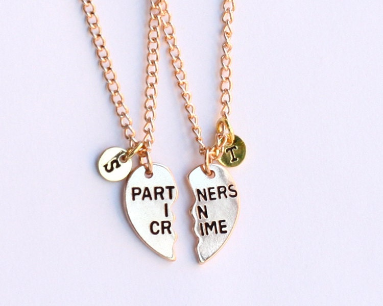 partners in crime necklace initials friendship by birdshome