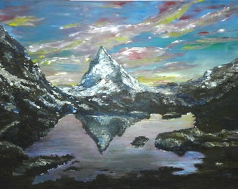 """Original painting """"lonely mountain Matterhorn"""", acrylic on streched canvas, 23'' x 30 ''"""