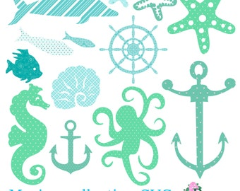 SVG cutting files, Sea beach Marine   Swimming picnic vacation collection for Silhouette Cricut cutter Digital paper Die Cut Anchor decal