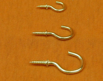 "Brass Effect Cup Hooks, Half - Three Quarter - One Inch - 1/2"" - 3/4"" - 1"" - 12mm - 19mm - 25mm. Free UK Postage."