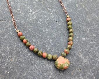 Unakite and Copper Necklace