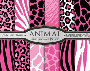 Pink Animal Print Digital Paper: Pink Animal Digital Paper with Hot Pink Animal Print Pattern, Giraffe Print, Pink Leopard Print Download