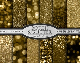 Instant Download Gold Glitter Digital Paper Pack: Glitter Paper, Gold Digital Paper, Bokeh Digital Paper, Printable Glitter Background Print