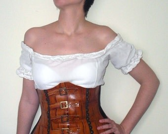 Corset 10 parts steampunk in brown leather with drawings of scales