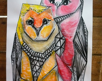 Owl Pair- Hand Painted Print