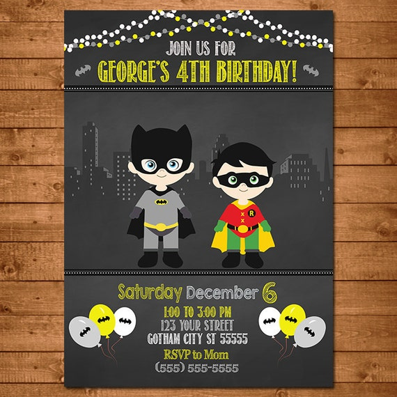 Batman Robin Superhero Invitation Chalkboard Theme -- Batman Invite -- Batman Birthday -- Batman Party Favors