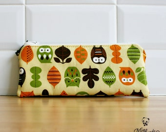 Pen case made with owl yellow japanese fabric.