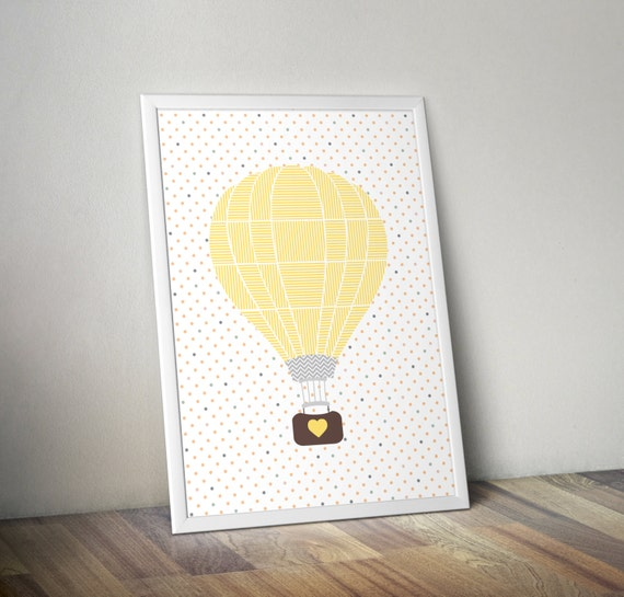 Gender neutral Nursery art - Hot air balloon - Nursery Printable - Nursery wall art - Nursery decor - Digital download, 8x10