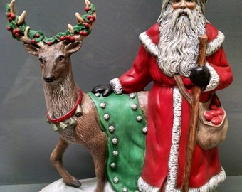 SALE!!!    Santa/Standing Deer -- Heirloom-quality handpainted ceramic Santa -- Christmas mantel decor