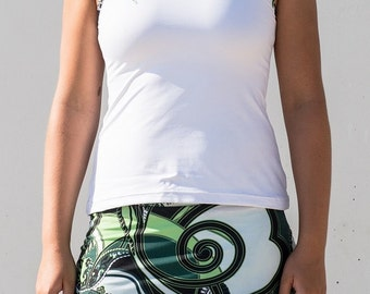 woman tennis skirt full imagination and white vest with coordinate profiling, Halter