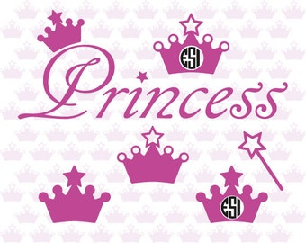 Princess svg files, crown, Wand, Word art SVG, DXF, EPS, Vector, Vinyl, monogram frame, Silhouette Cameo. Commercial use.