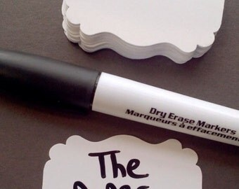 Dry Erase Tags with marker - food cards - wedding - placecards