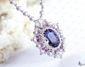 Silver Pearl Wedding Bridal Necklace with Tanzanite Purple Crystal Pendant Fashion Handmade Luxury jewelry Bridesmaid Birthday gift for her