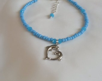 Dolphin Anklet Ankle Chain -  Blue Seed Bead Anklet - Surf Anklet