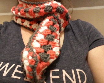 Thin, gray, white, and pink granny stripe scarf
