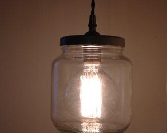 Industrial Glass Jar Pendant (Bulb Included)