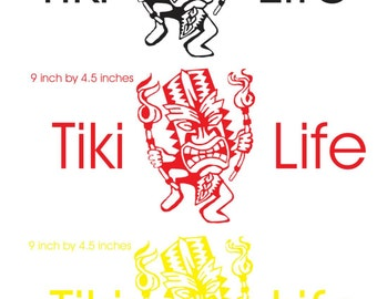 Tiki life car decal, vinyl tiki decal, tiki wall decal