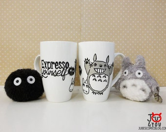 "Totoro with quote ""Expresso Yourself"" Hand-drawn Mug, Hand drawn, Black and Silver Ink"