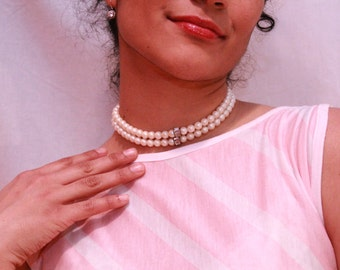 1930s Vintage Glass Pearl double strand Choker Necklace