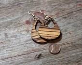 Wood Cut Zebra Drop Earrings
