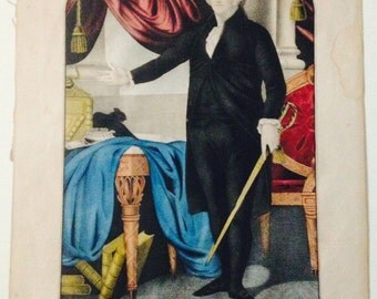 George Washington First in War First in Peace Hand Painted Original Lithograph Americana Kelloggs & Comstock 1848-50