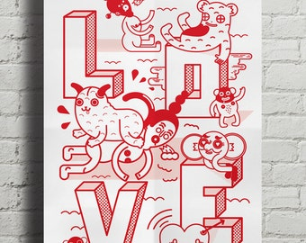 LOVE. Fine quality print of original artwork. Hand signed.