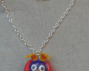 Rayman owl necklace polymere clay