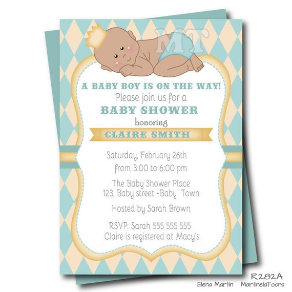 to little prince baby shower invitation african american boy prince
