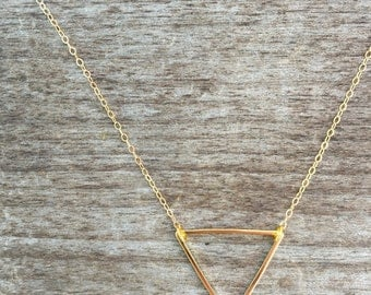 Large Open Triangle Necklace-Gold Necklace-Jewelry Sale-Modern Necklace-Triangle Gold Necklace - Gold Necklace -