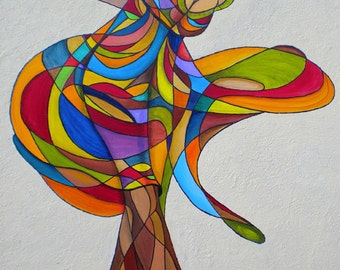 Danseuse Oil painting on canvas, dance colorful woman big.  Artist: Cecile Dossogne . Size 27.58'' X 39.4''