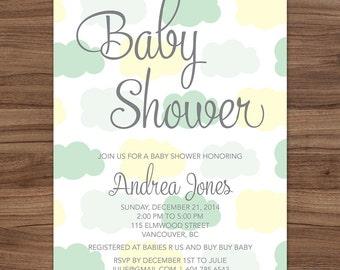 Cloud Baby Shower Invitation Mint / Rain Cloud Baby Shower Invitation / Baby Sprinkle Shower Invite / Clouds Digital Invite