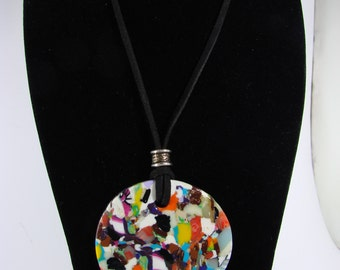 Polymer clay multicolor, hands and Black Suede made pendant necklace.