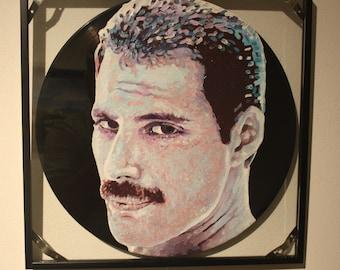 Freddie Mercury-painting on vinyl 33 RPM-unique piece d'Autore