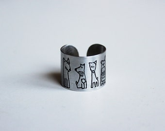 Handmade Sterling Silver Dog Ring, THE CREW, Patinated, Hand Engraved, Adjustable, Contemporary Ring, Wearable Art, Dog Ring