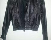 SALE Vintage Black LEATHER JACKET by Sentiments Zip Up Button up Biker Soft Grunge Motorcycle Bomber Jacket Moto Punk Coat Small