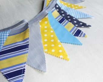 Bunting, Fabric Flags Banner, Garland, Blue, Grey, Yellow Pennant, Boy's Nursery, Home Decoration, Nautical Party