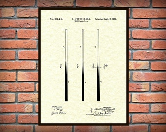 Patent 1879 Billiard Cue Patent Art Print - Poster Print - Drawing Illustration - Wall Art - Pool Hall Art - Billiard Hall Art - Pool Stick