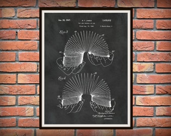 Patent 1947 Slinky Patent Art Print Pg 2 - Steel Spring Toy - Stair Walker Toy - Poster - Wall Art - Game Room Art - Childs Room Decor