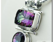 Sold to Geo Mystic Topaz Tear Drop Cut Emerald Cut 925 SOLID Sterling Silver Pendant & 4mm Snake Chain + FREE Worldwide Shipping