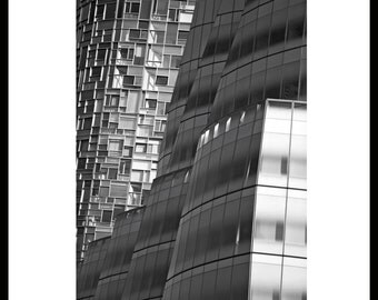 Vision Machine Luxury Apartment designed by Arch. Jean Nouvel (left) and IAC HQ by Arch. Frank Gehry (right) in Chelsea, NYC. December 2010.